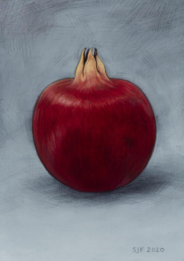 """Winter Pomegranate, 2020. Graphite & oil on art board, 7x5"""" Sold"""