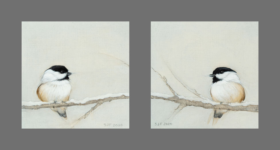 """Winter Companions, 2020. Graphite & oil on wood panels, 5x5"""" Sold"""