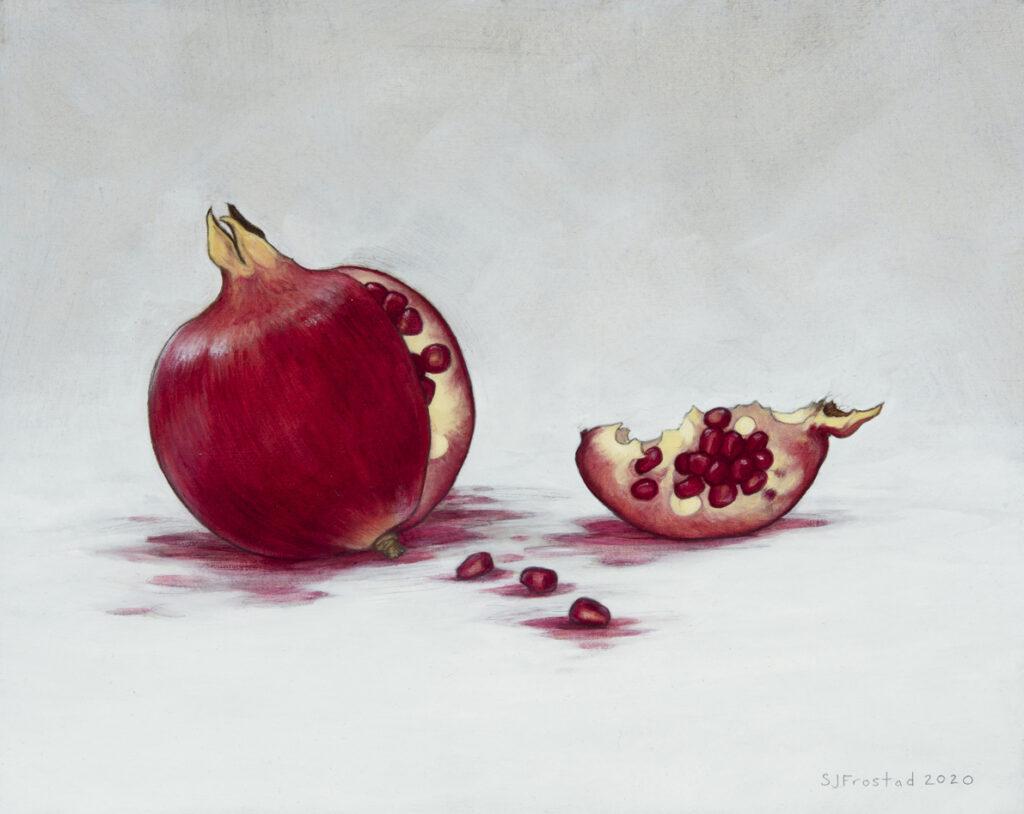 """Split / Spilt, 2020. Graphite & oil on art board, 8x10"""" Sold"""
