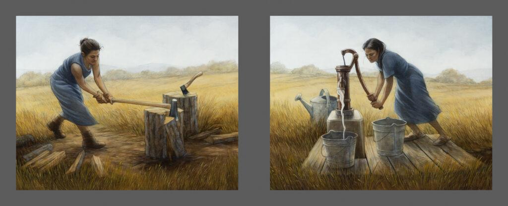 "Chop Wood & Carry Water, 2020. Graphite & oil on wood panels, each 11x14"" 1,400."