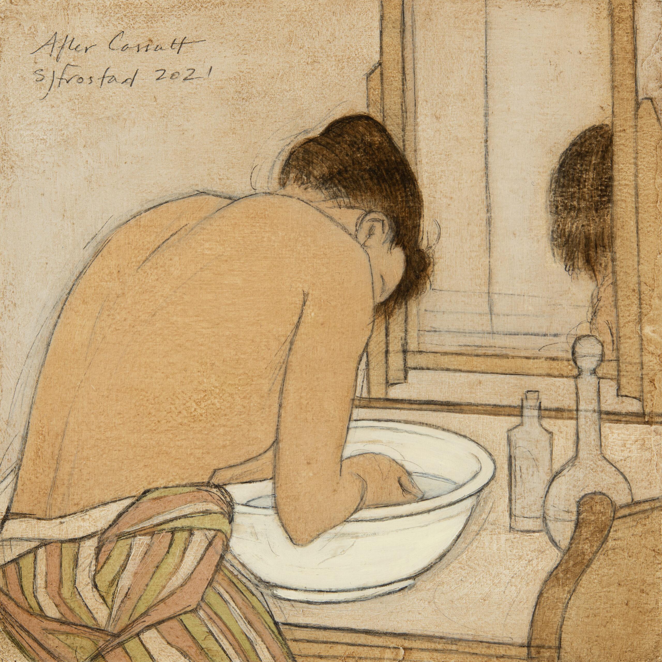 "Art Historical Potsketch: Cassatt, 2021. Graphite & oil on art board, 5x5""."