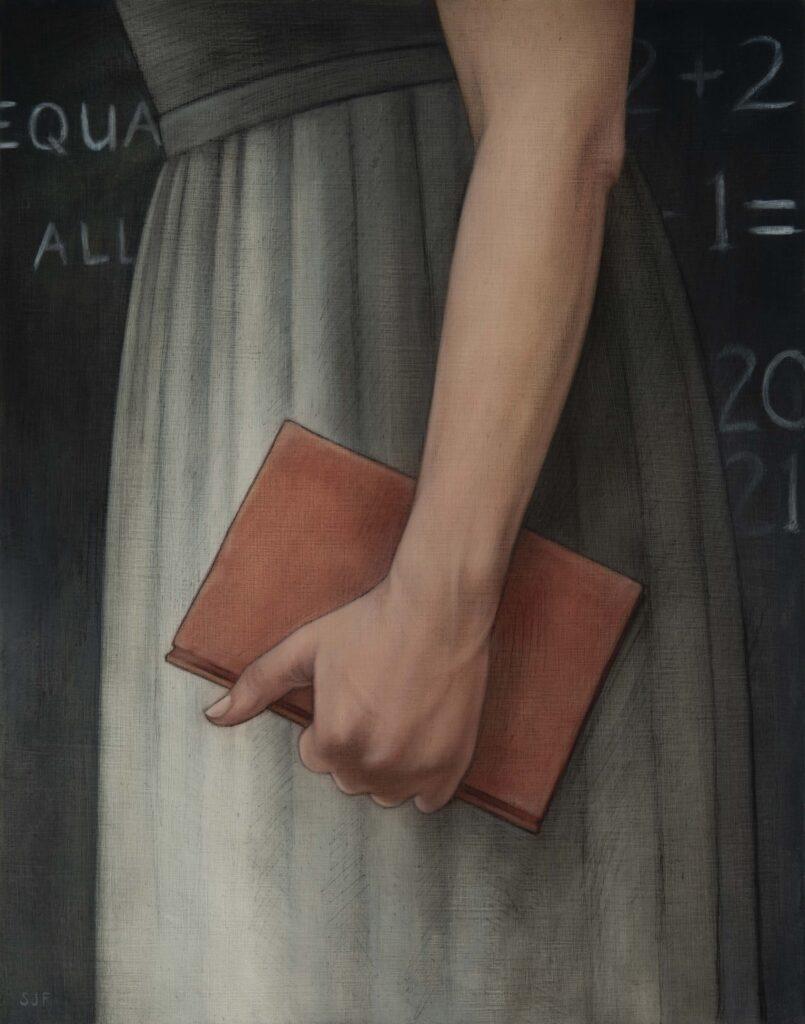"""Teacher: Primer, 2021. Graphite & oil on wood panel, 14x11"""". Sold"""