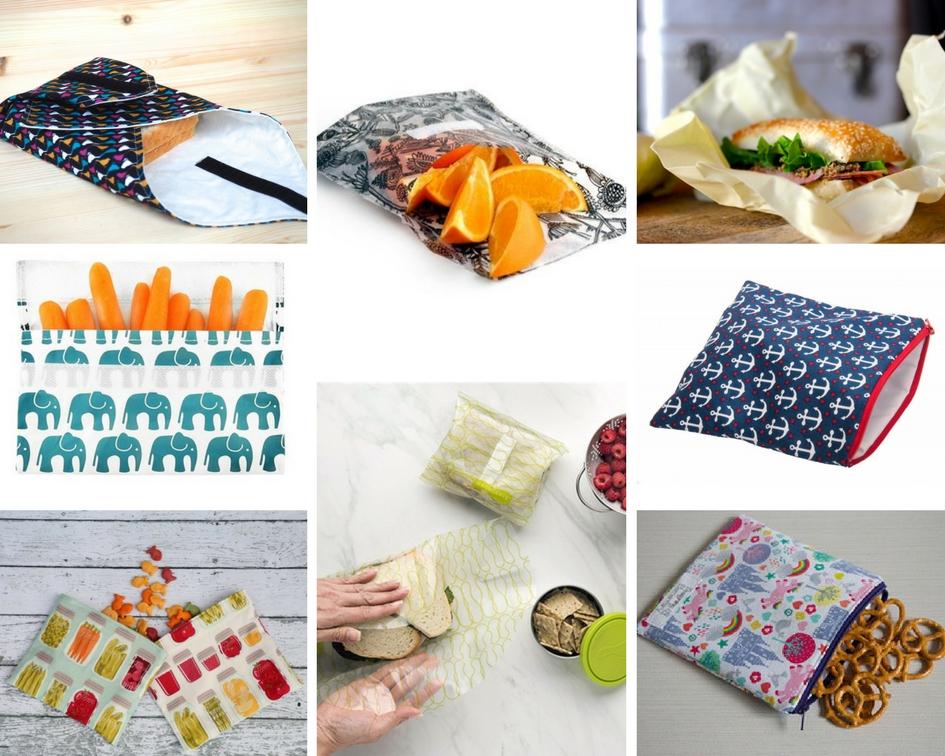emballages sandawiches collation snack réutilisables reusable plastique tissus cire coton