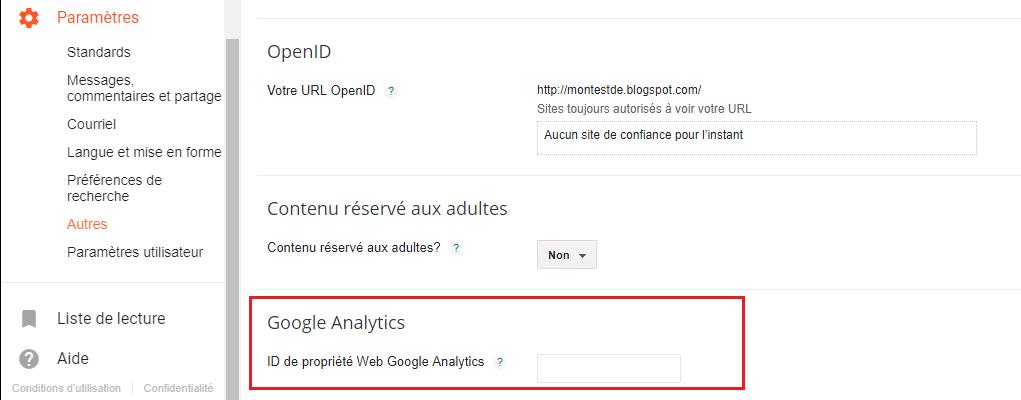 Copier le code de suivi de Google Analytics dans Blogger