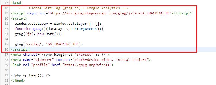 installer le script de suivi de Google Analytics dans le fichier header