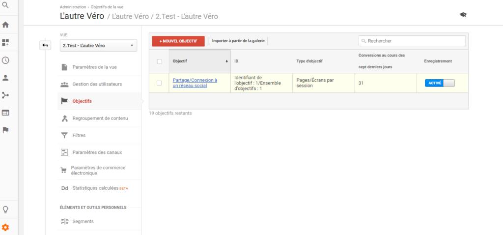 accueil des objectifs dans Google Analytics