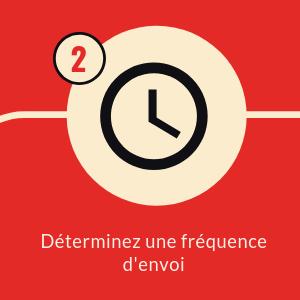 horloge noir dans rond beige fond carré rouge avec numéro 2 texte