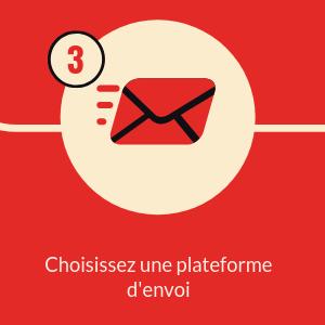 enveloppe rouge et noire rond beige fond carré rouge numéro 3 texte