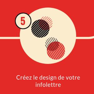 cercles hachurés noir et rouge rond beige fond carré rouge numéro 5 texte