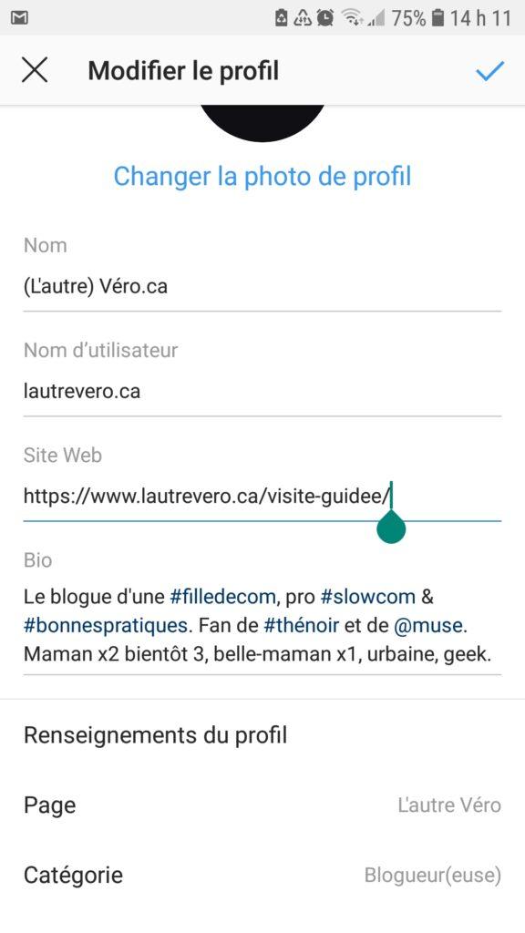 capture écran instagram insérer URL dans profil