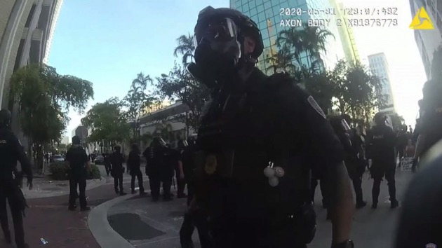Bodycam footage appears to show police in Florida celebrate after shooting rubber bullets at protesters