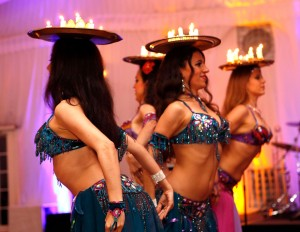 Belly Dancers New York Infinity Bellydance with candles - Masquerade Ball Fundraiser at Hilton, Greenwich CT