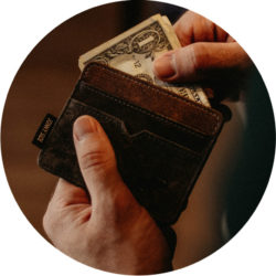 Man holding wallet and money- afford writing