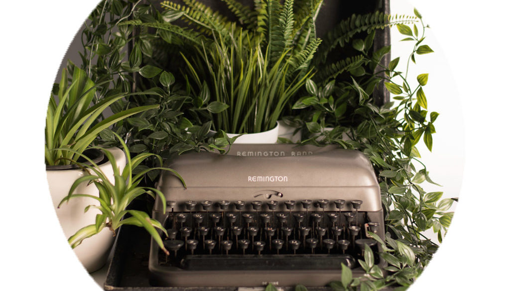 Writing Typewriter with Potted Plants