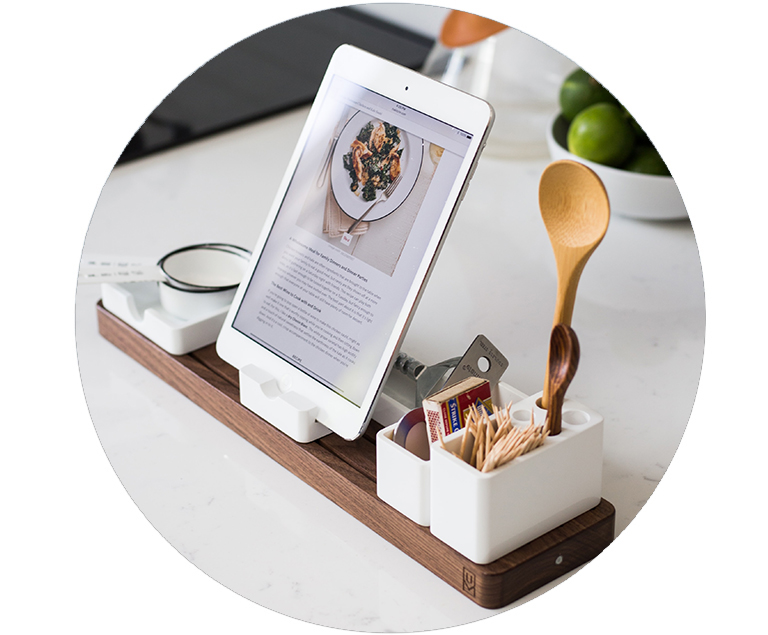 iPad with Recipe on Counter with cooking supplies
