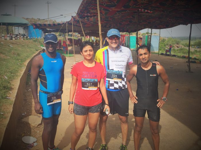 All exhausted after finishing Half Ironman distance triathlon at Thonnur, Mysuru, India