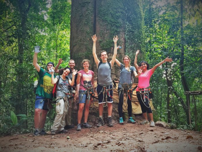 Group tours are fun! Enjoying at The Gibbon Experience, Huay Xai, Laos