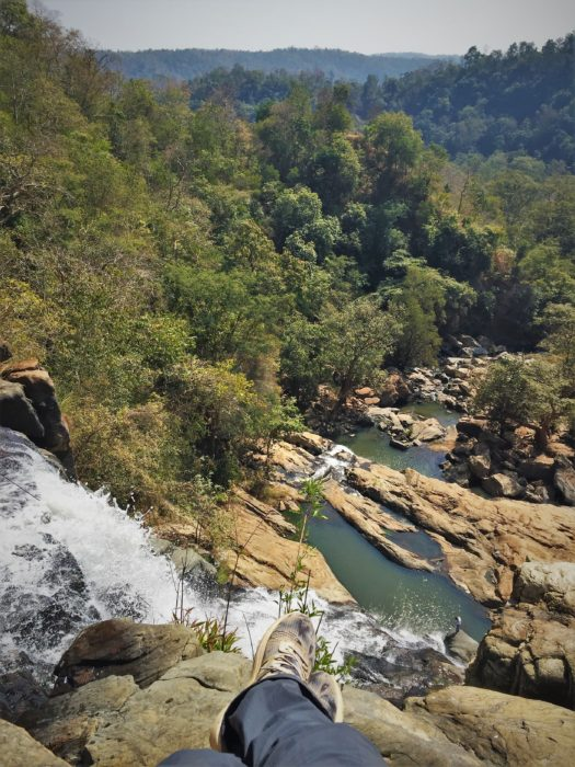 View from top of Phoolpad Waterfall, near Palnar, Dantewada, Southern Chhattisgarh. Can you see a tiny man at the bottom of waterfall?