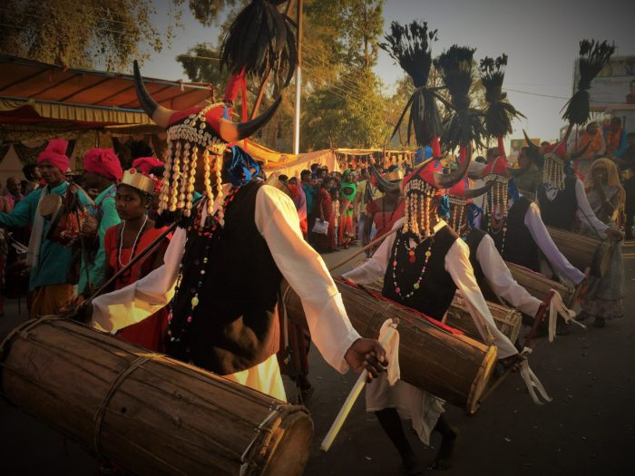 Tribal dance during the grand procession on the occasion of Fagun Mandai, Dantewada, Chhattisgarh.
