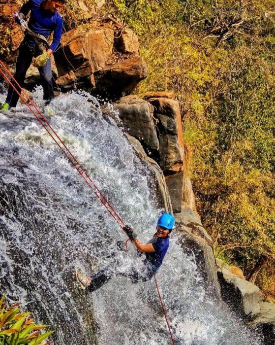 River rappelling at one of the most beautiful waterfalls in Southern Chhattisgarh, Phoolpad Waterfall.