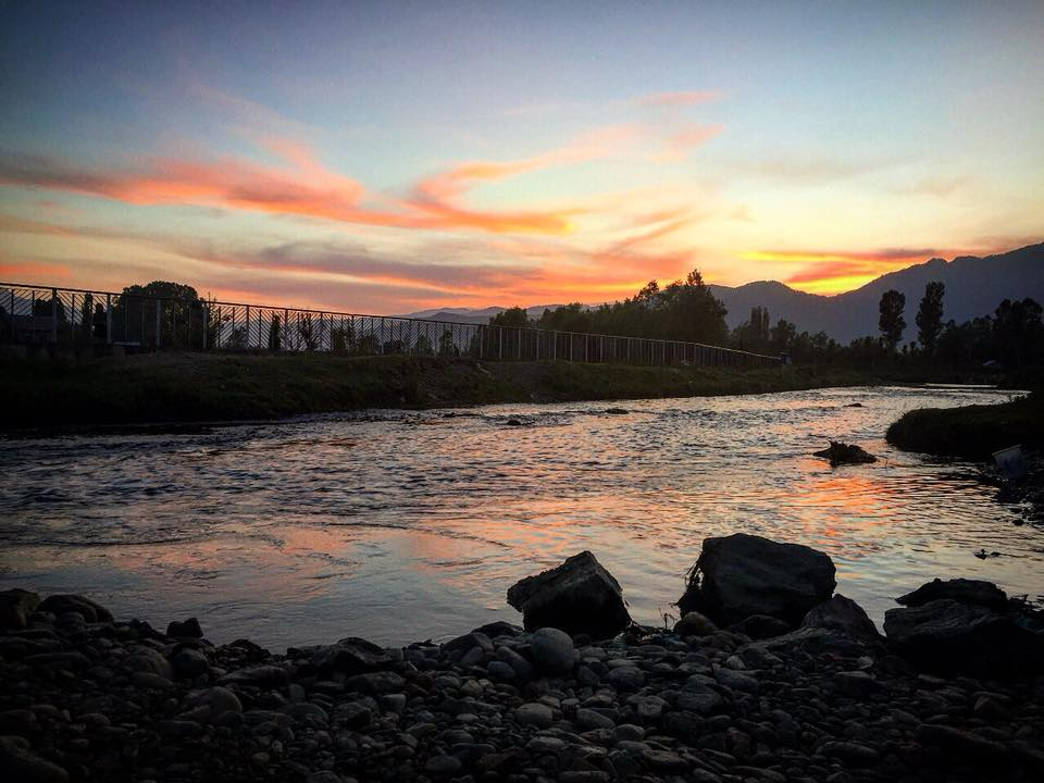 Sunset at Talri river, Kupwara, North Kashmir.