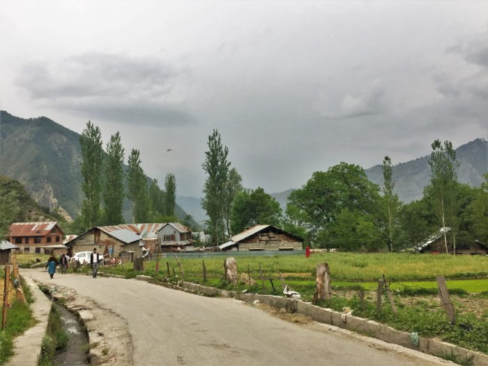 A typical view at Tangdhar village in Karnah region of Kashmir..