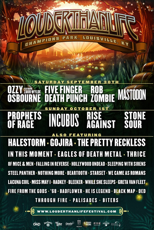 Louder Than Life: Ozzy Osbourne, Prophets of Rage, Five Finger Death Punch, Rob Zombie and Incubus To Headline