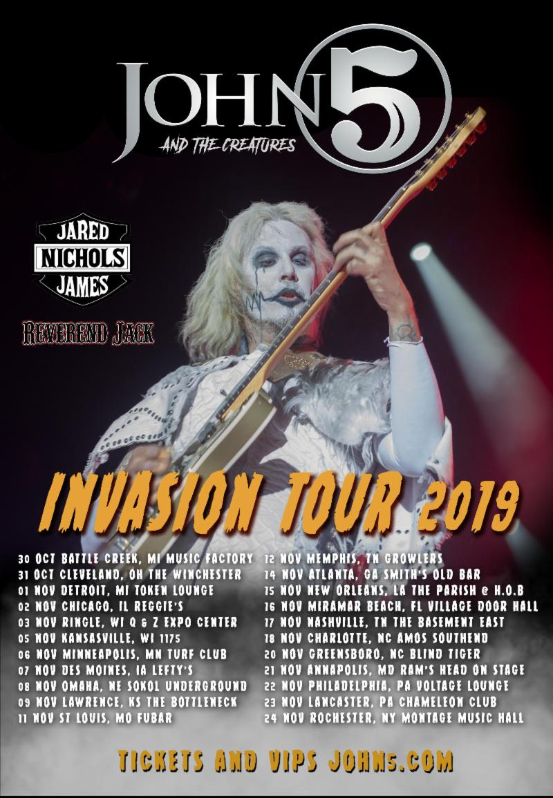 JOHN 5 and The Creatures Announce Second U.S. Leg of Their Invasion Tour