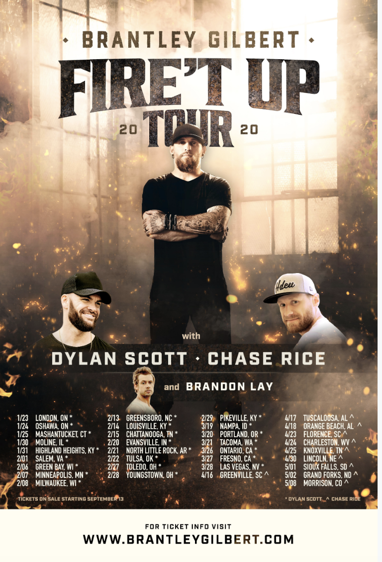 "Brantley Gilbert Announces 2020 ""Fire't Up Tour"" + Releases ""Fire't Up"" off 10/4 Album"