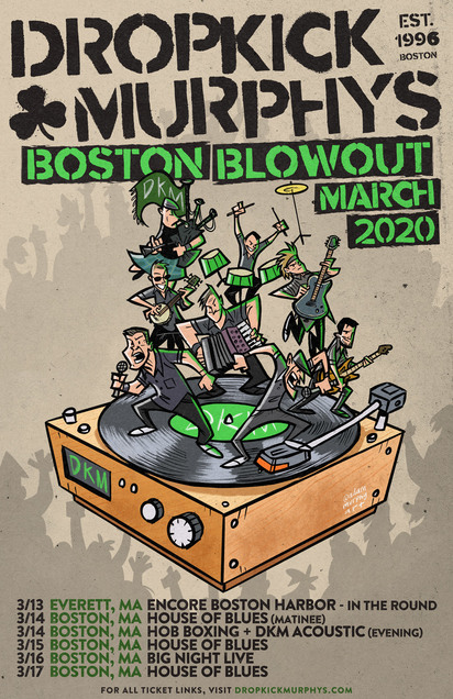 Dropkick Murphys Boston Blowout: 6 Boston Area Headlining Shows Confirmed For St. Patrick's Day Week 2020, Along With Full Professional Boxing Card Presented By Murphys Boxing