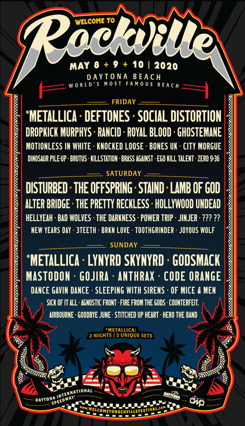 Welcome To Rockville 2020 Full Lineup Announced: 10th Year Features Metallica, Disturbed, Lynyrd Skynyrd, Godsmack, Deftones, Social Distortion, The Offspring & Many More, May 8-10
