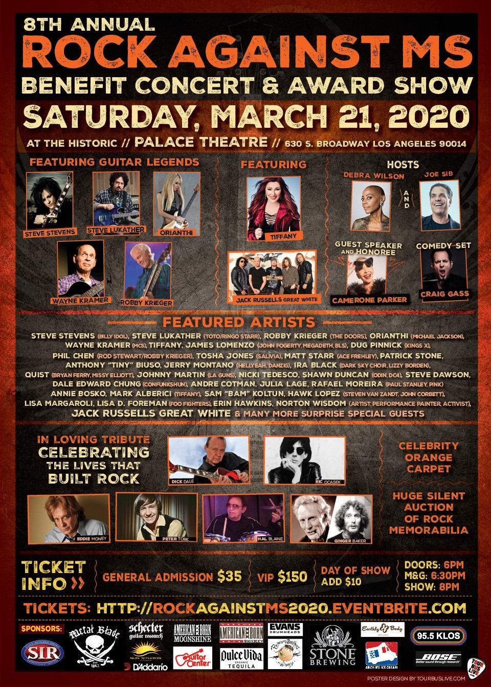 ROBBY KRIEGER (The Doors) STEVE STEVENS (Billy Idol) ORIANTHI (Michael Jackson) STEVE LUKATHER (Toto) WAYNE KRAMER (MC5) Added To The 8th Annual Rock Against MS Concert