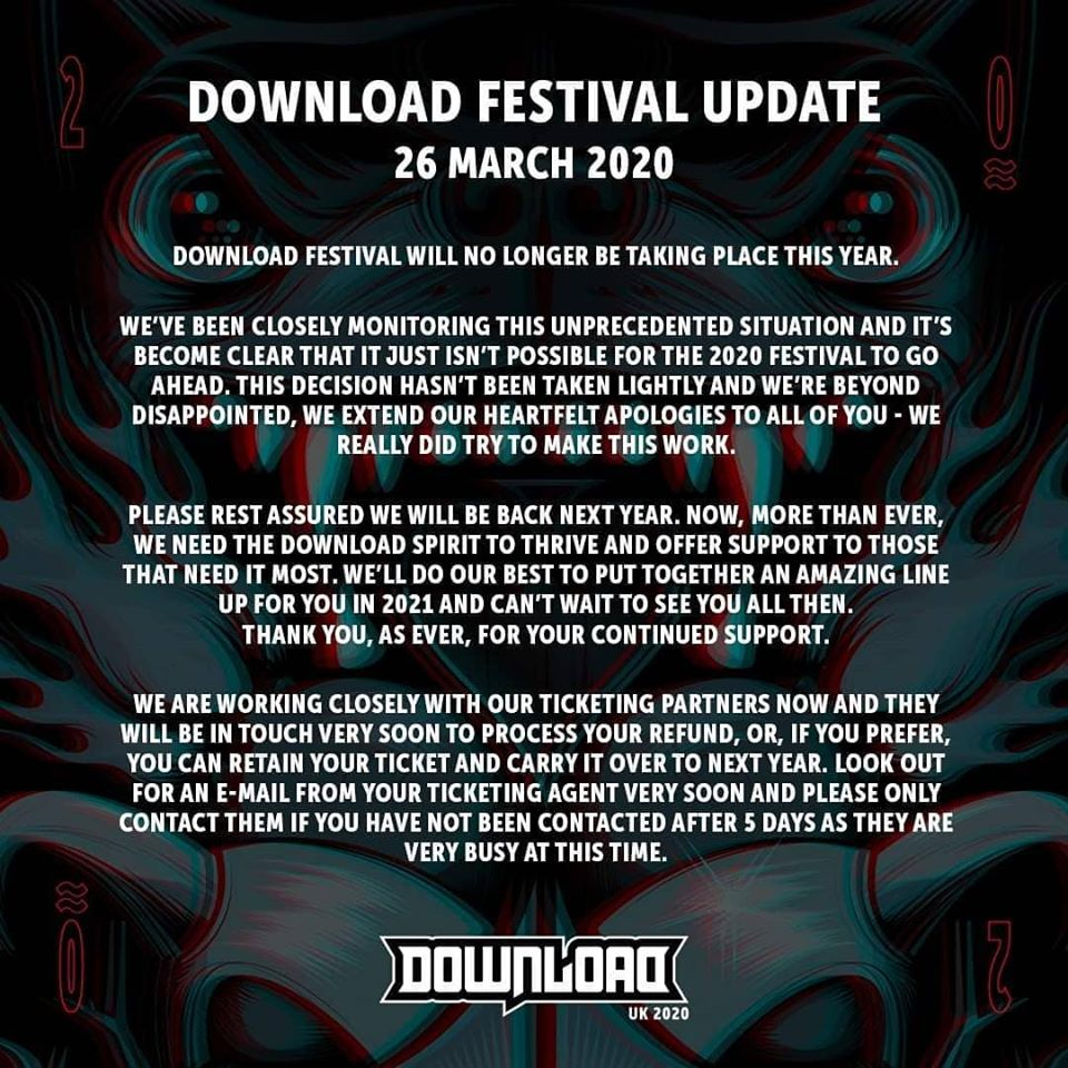 Download Festival Officially Cancelled for 2020