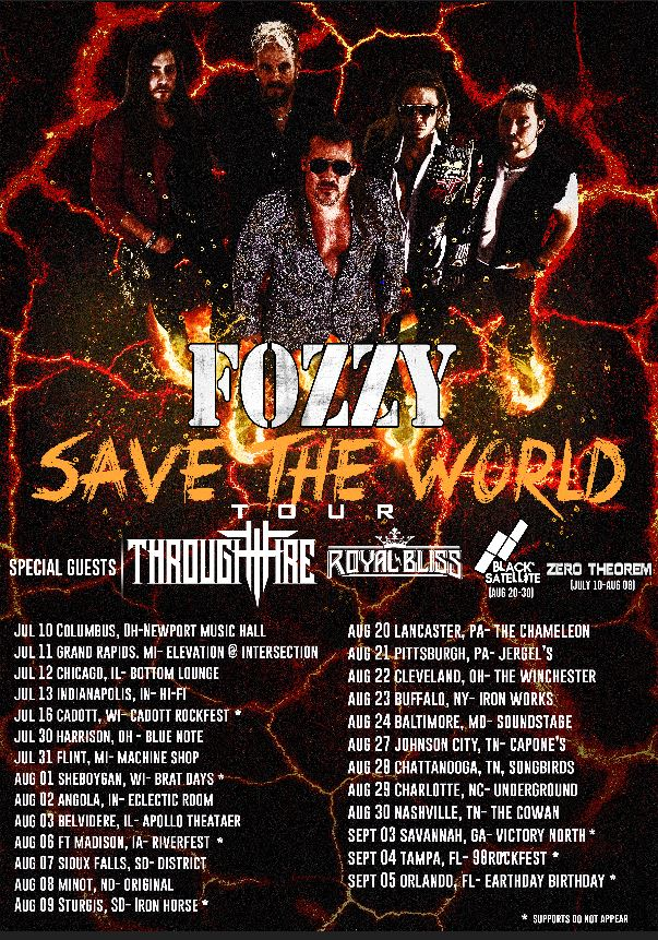 FOZZY ANNOUNCES RESCHEDULED SAVE THE WORLD TOUR DATES