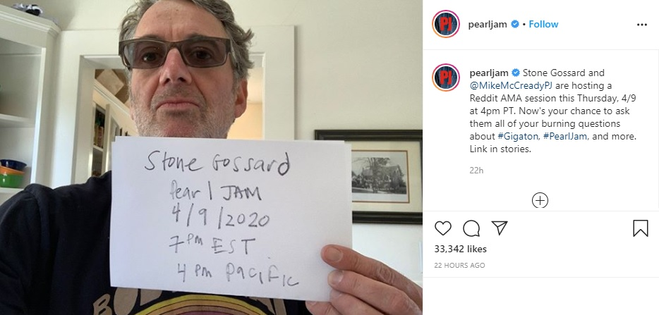 PEARL JAM'S STONE GOSSARD AND MIKE MCCREADY TO HOST REDDIT AMA SESSION
