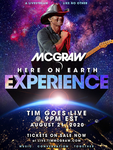 Grammy Award winning Superstar Tim McGraw announces Here on Earth EXPERIENCE