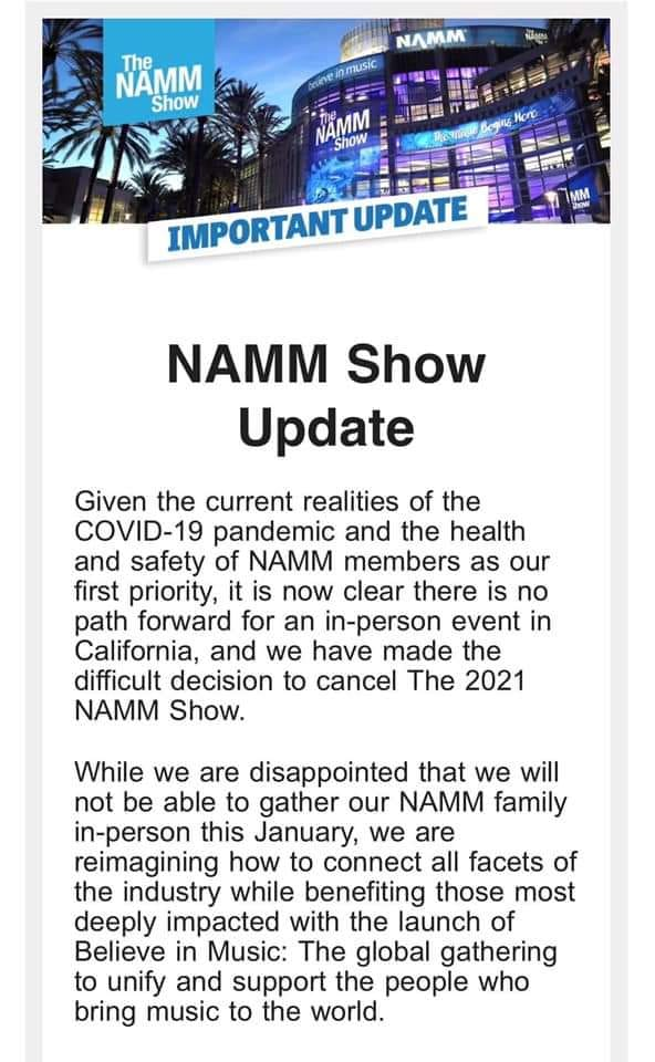 Breaking News: The 2021 Winter NAMM Show Is Officially Cancelled, Virtual Event Planned