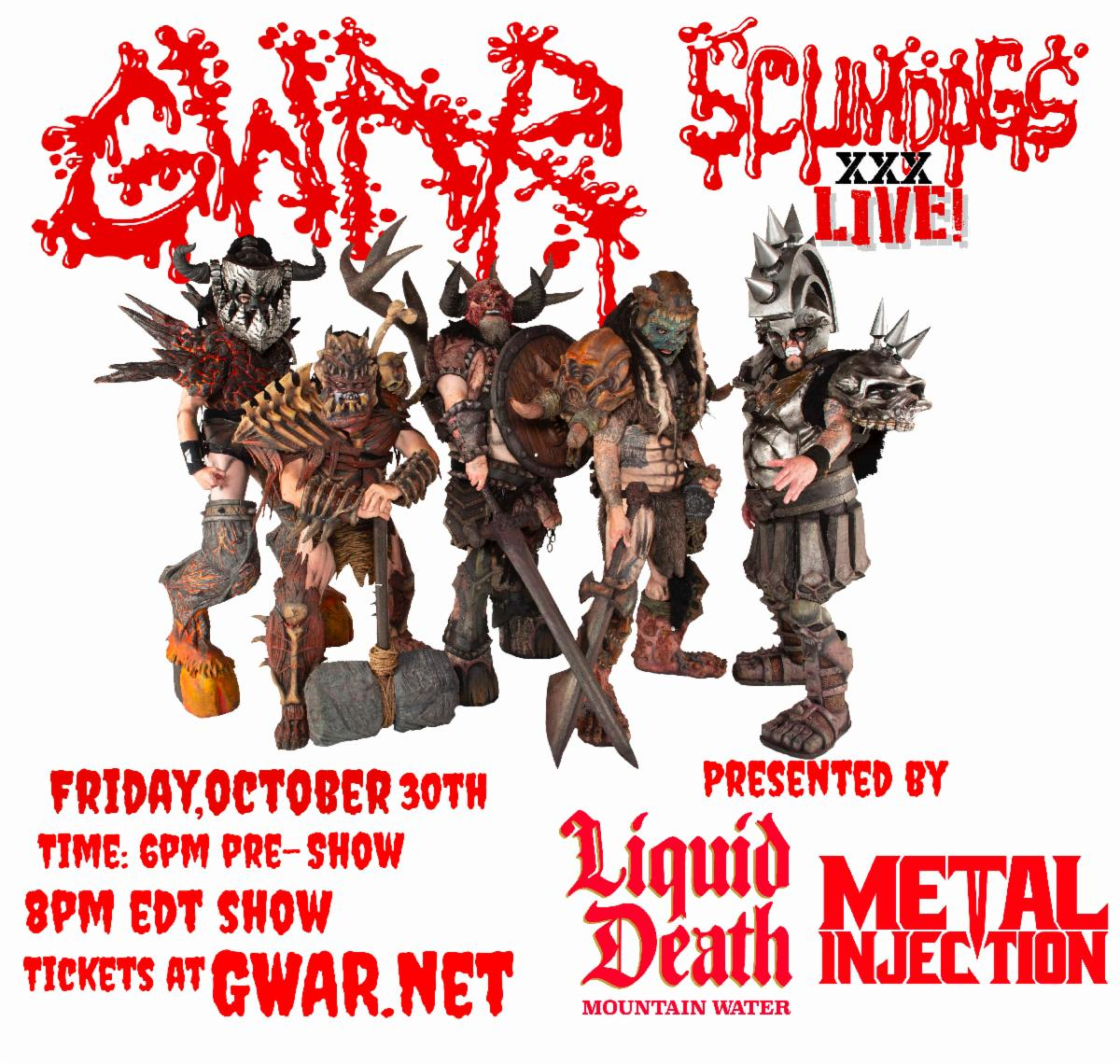 """GWAR Announces """"Scumdogs XXX Live"""" Presented by Liquid Death and Metal Injection"""