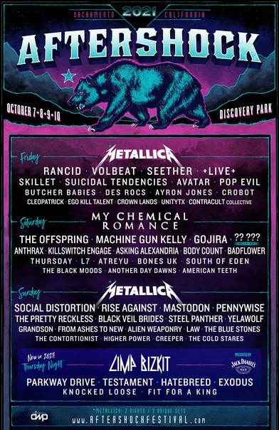 Aftershock 2021 Lineup Announced: Metallica, My Chemical Romance, Rancid, Social Distortion, The Offspring, Machine Gun Kelly, Rise Against, Volbeat & More October 7-10, 2021 In Sacramento, CA; Produced By DWP