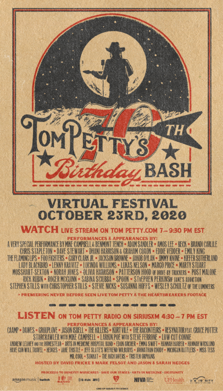 TOM PETTY'S 70TH BIRTHDAY BASH: VIRTUAL FESTIVAL CONFIRMED FOR OCTOBER 23