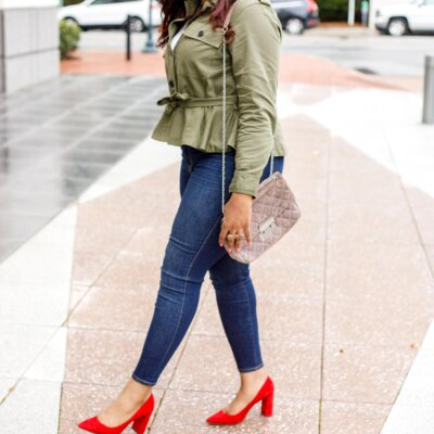 Olive Green Jacket & a Pop of Poppy