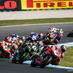 Marco Melandri leads the pack exiting Siberia at the Phillip Island World Superbike Round