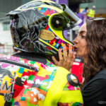 Danny Webb gets a good luck kiss before the start of the 2018 Macau Motorcycle Grand Prix