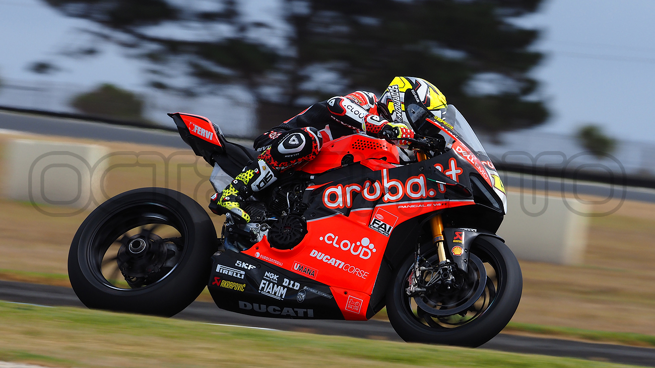 Alvaro Bautista heads into the Southern Loop during the WSBK Test, Phillip Island 2019