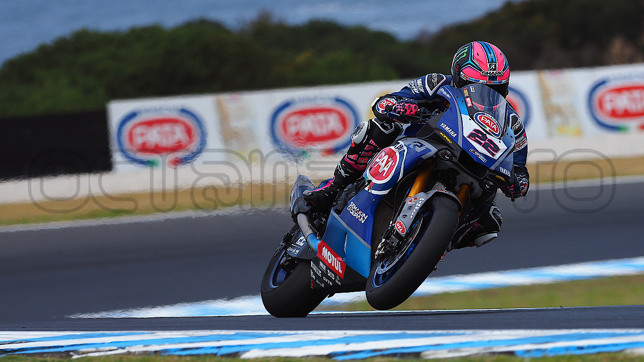 Alex Lowes heading out of Siberia during the WSBK Test, Phillip Island 2019