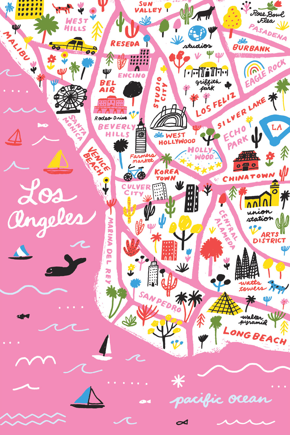 5×7-Pink-LA-Map-Portrait
