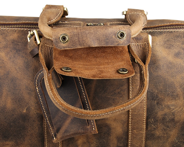 leather brown travel duffel bags
