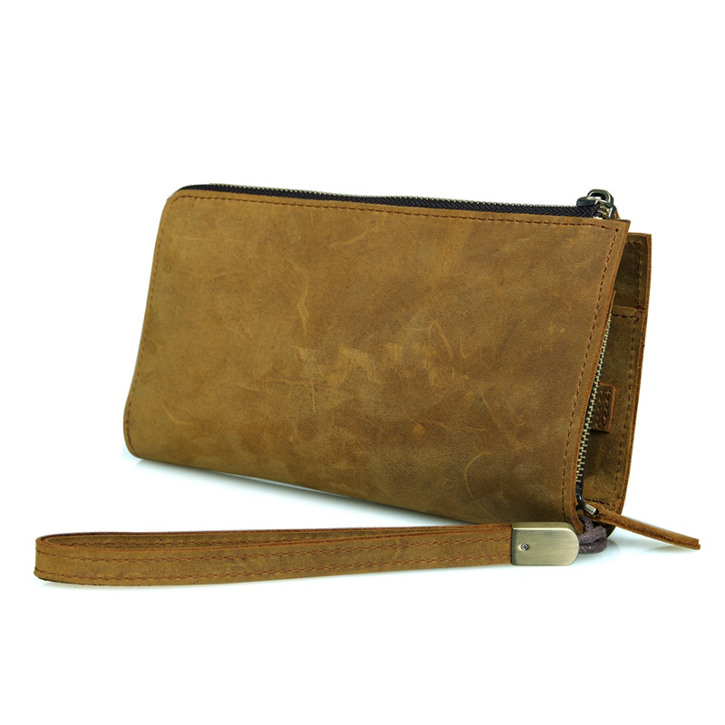 Classic Brown Yellow leather clutch bag