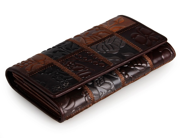 Vintage  Cow Leather 3 Folded Fringe Pattern Women wallet