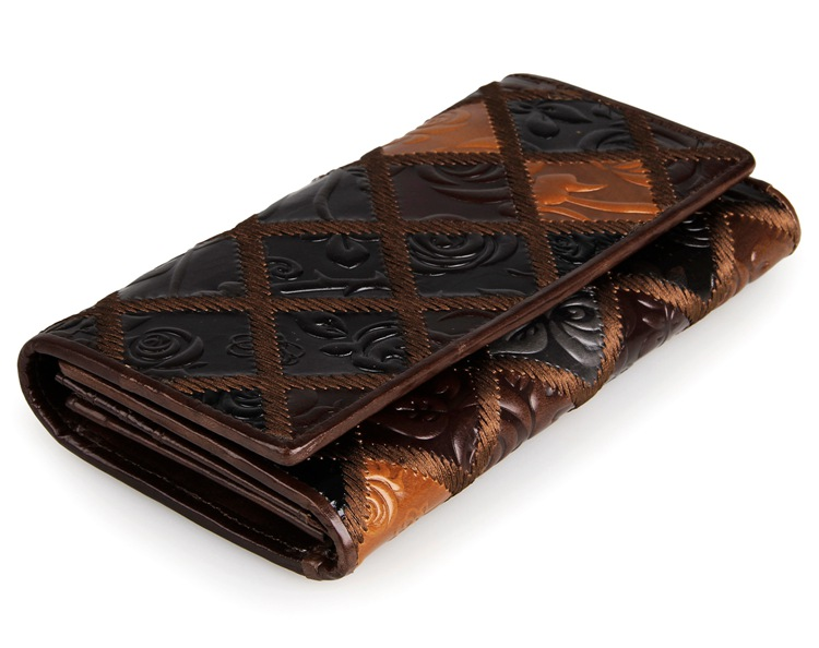 Vintage  Leather 3 Folded Fringe Pattern Women wallet
